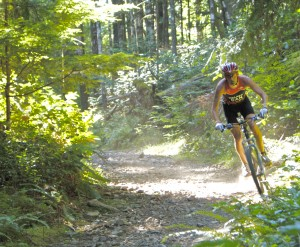 A cyclist from the 2013 XTERRA Victoria on July 14.