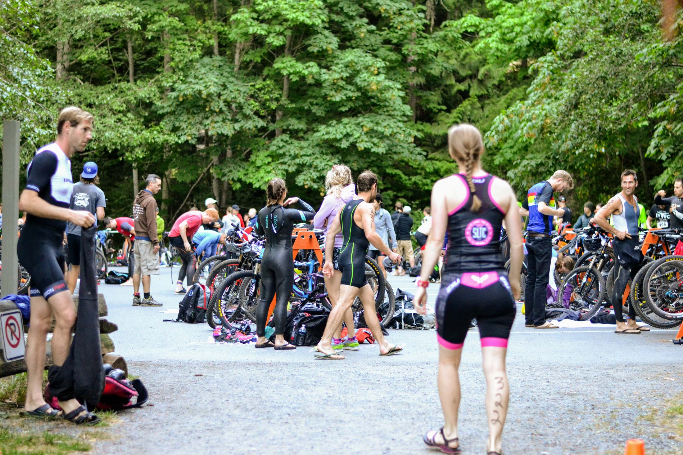 Athletes prepare for the race in the transition zone.