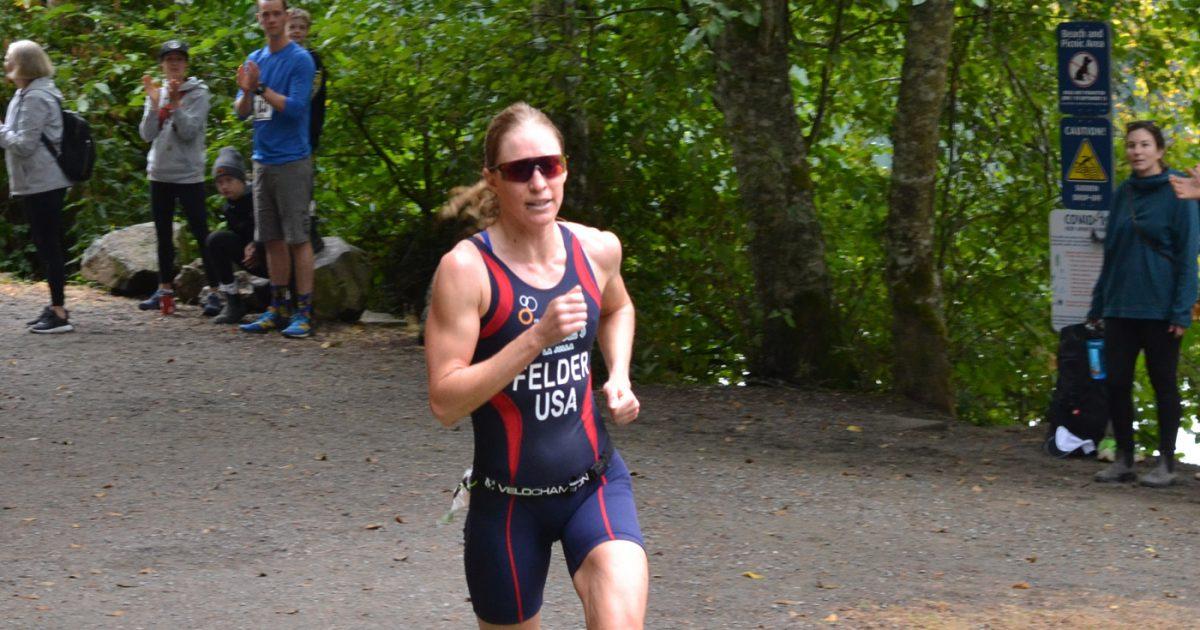 Amanda Felder comes across the finish line!